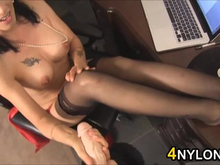 Cumming On Her Nylons In Someone's skin Office