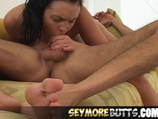 SeymoreButts Brunette gives soiled boloney bottomless gulf
