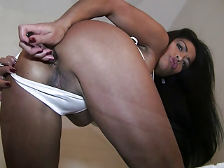 Wet and Oily Asian Babe Fucks Her Ass with Dildo