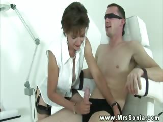 Busty euro in stockings tugging dick and cant get enough