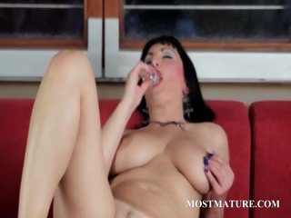 Mature hot pussy rubbing and dildo teasing