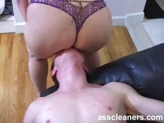 Chubby domina facesits and demands for ass cleaning