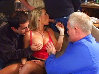 Horny Vicky handles a bunch of dicks