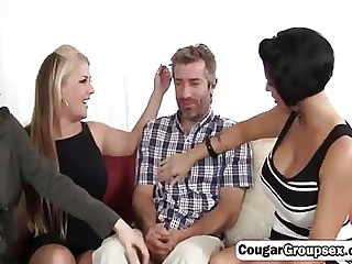 Group sex with hot MILF with fat tits coupled with fat cocked radiate
