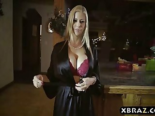 Hot stepmom squirts over stepsons cock not later than Christmas