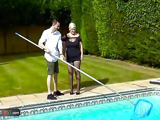 Giant down Aged Young gentleman Lacey Starr Is Screwing Really Hardcore Her Gung-ho Pool Boys Dick