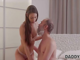 DADDY4K. Grey-haired cur� seduces sweet GF for his son...