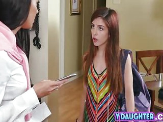 Daughter taught step mom Rachel Starr doggy quality