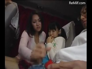 Japanese female parent and her daughter blowjob for strangers on motor coach