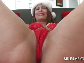 MILF strips in flames skivvies and plays just about pussy