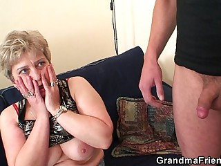 Hot grandma warms up up ahead swallowing two cocks
