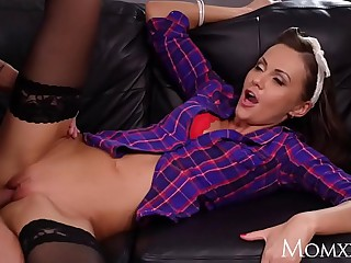 Matriarch Brunette MILF Tina Kay monster blowjob and about-turn cowgirl