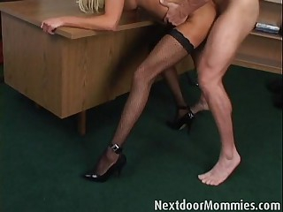Fair-haired mature mom takes it anal