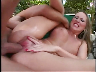 Hot anal bitch fucked in the backyard on the lawn chair
