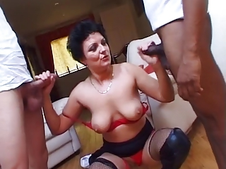 Hot Marketable British Milf Fucks Four Young Cocks !