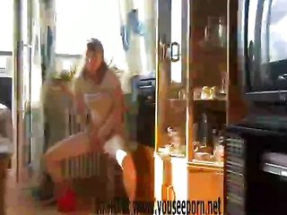 Anja Graversen striptease in jumping zone