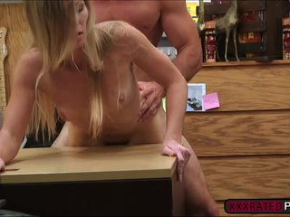 Milf teases pawnshop proprietor and fucked